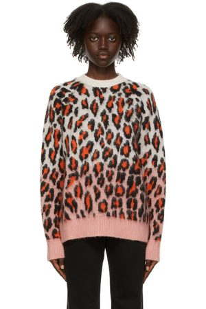 Women Jumpers - MSGM Pink Mohair Leopard Sweater