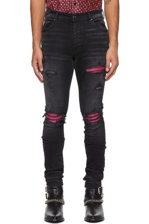Men Leather Pants - AMIRI & Pink Cracked Leather MX1 Jeans