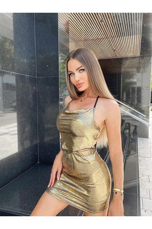 Yoins Metallic Tie-up Design Halter Cami & Mini Skirts Set