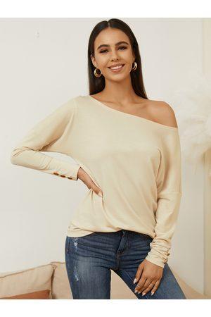 YOINS Women Long Sleeve - Button Design One Shoulder Long Sleeves Tee