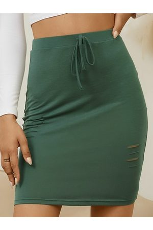 Yoins Random Ripped Details Drawstring Waist Mini Skirt