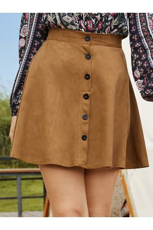 Yoins Women Mini Skirts - Button Front Mini Skirt