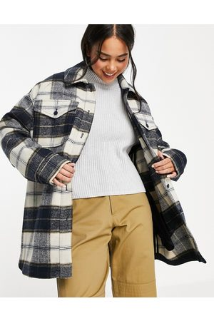 Weekday Recycled oversize shacket in black and white check print-Multi