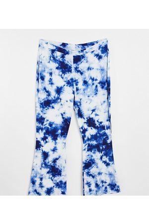 ASOS ASOS DESIGN Curve flare trouser in indigo blue tie dye print-Multi
