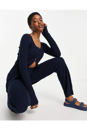 ASOS Co-ord knitted rib button through mini dress in navy