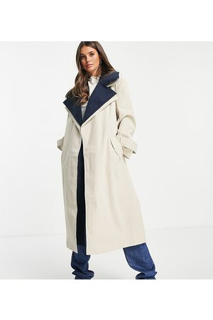 ASOS ASOS DESIGN Tall double layer trench coat in navy