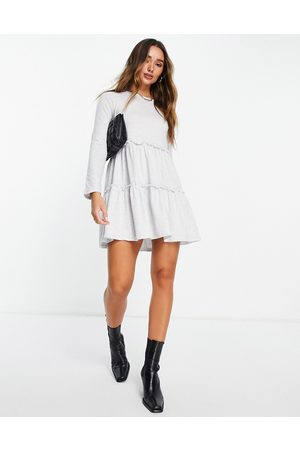 River Island Smock tiered t-shirt dress in