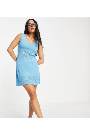 Collusion Knitted dress with pointelle detail in pale blue