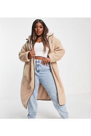 ASOS Curve ASOS DESIGN Curve fleece coat with contrast stitching in camel