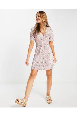 ASOS Women Printed Dresses - Shirred waist mini plisse dress in pink ditsy floral-Multi