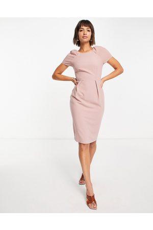 Closet Cap sleeve woven pencil dress in dusky rose