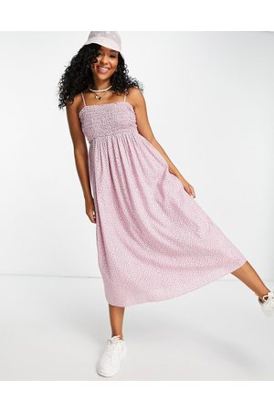 & OTHER STORIES Organic cotton shirred midi dress in floral