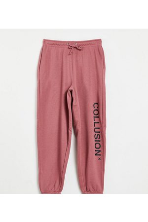 COLLUSION Unisex organic cotton logo joggers in dusty