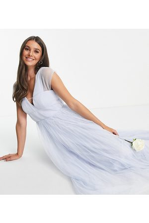 ASOS Women Party Dresses - ASOS DESIGN Tall tulle plunge maxi dress with shirred sleeves in powder