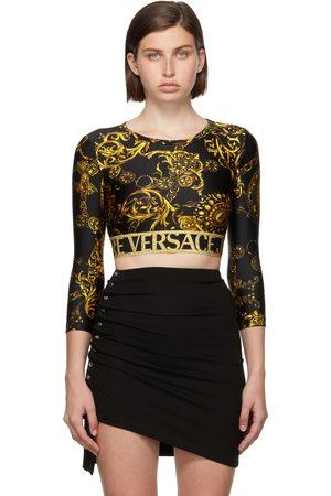 Versace Jeans Couture & Gold Regalia Baroque Crop Long Sleeve T-Shirt