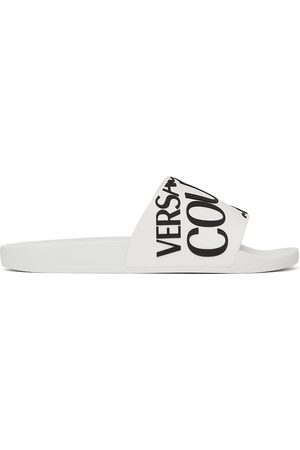 Versace Jeans Couture White Rubber Logo Slides