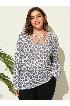 YOINS Women Long Sleeve - Plus Size Leopard Cut Out Long Sleeves Tee
