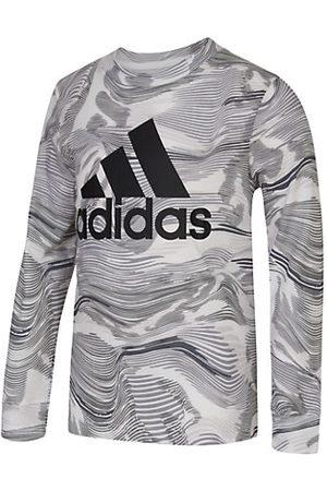 adidas Boys Long Sleeve - Little Boy's Warped Camo-Print Logo T-Shirt