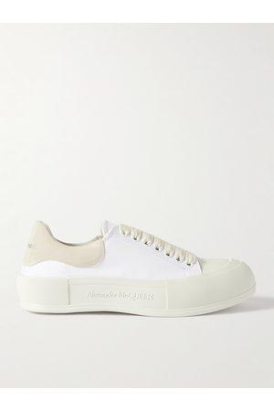 Alexander McQueen Men Sneakers - Suede-Trimmed Canvas Sneakers