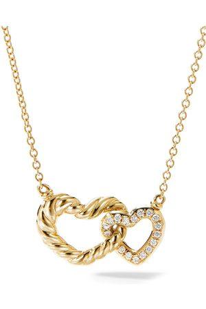 David Yurman 18kt yellow diamond Interlocking Heart Necklace