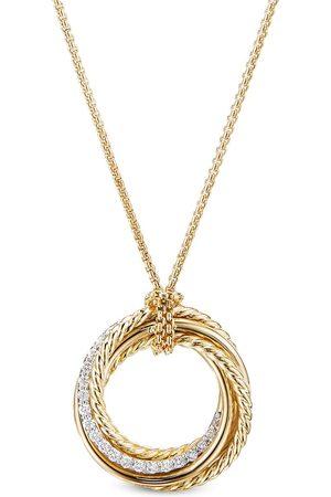 David Yurman 21mm 18kt yellow crossover diamond pendant necklace
