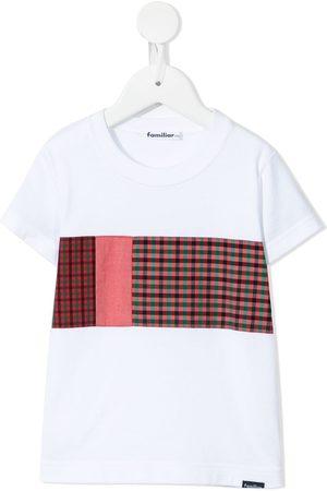 Familiar Boys Short Sleeve - Patchwork check-print cotton T-shirt