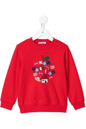 Familiar Girls Sweatshirts - Embroidered motif cotton sweatshirt