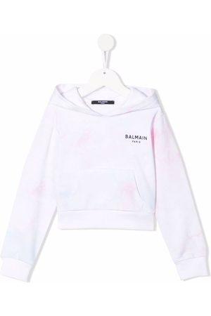 Balmain Girls Hoodies - Tie-dye print cotton hoodie