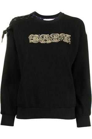 BAPY Women Sweatshirts - Embroidered lace-up trim sweatshirt
