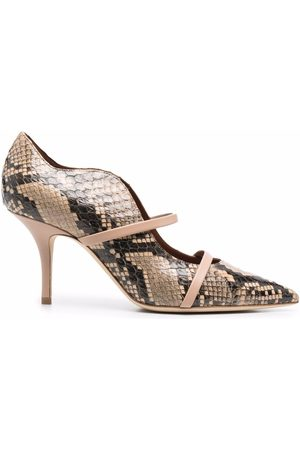 MALONE SOULIERS Snakeskin-print pointed pumps