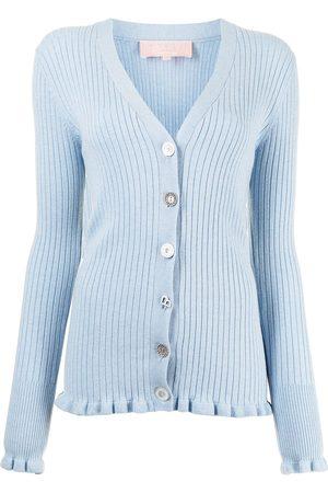 BAPY Ruffle trim ribbed-knit cardigan