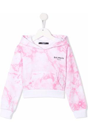 Balmain Girls Hoodies - Marbled logo-print hoodie