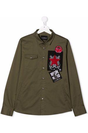 John Richmond Junior TEEN logo-patches long-sleeve shirt
