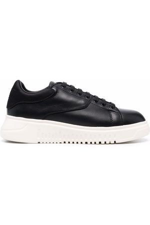 Emporio Armani Women Sneakers - Panelled low-top leather sneakers