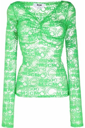 Msgm Logo-embroidered lace top