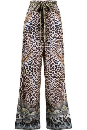 Camilla High-waisted graphic-print silk pants