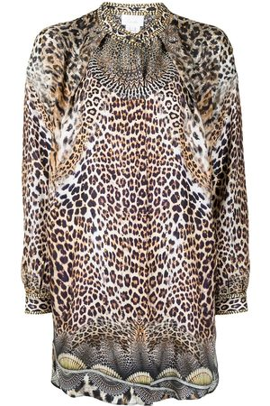 Camilla Women Blouses - Leopard-print long-sleeve silk shirt