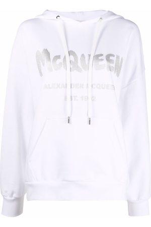 Alexander McQueen Women Hoodies - Logo-print cotton hoodie