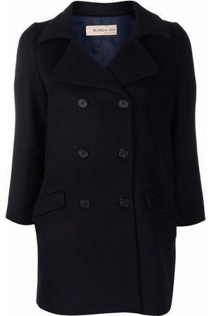 BLANCA Crop-sleeve double-breasted coat
