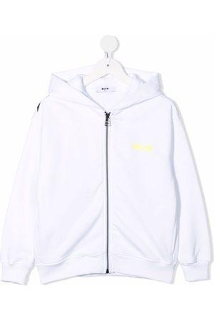 Msgm Boys Hoodies - Logo-print zip-up hoodie