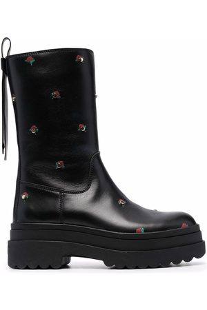 RED(V) Floral-print leather boots
