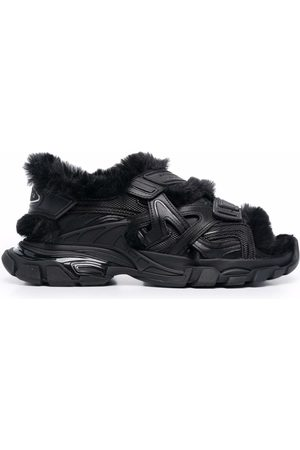 Balenciaga Track faux-fur touch-strap sandals
