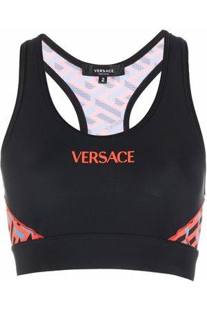 VERSACE Logo-print sports bra