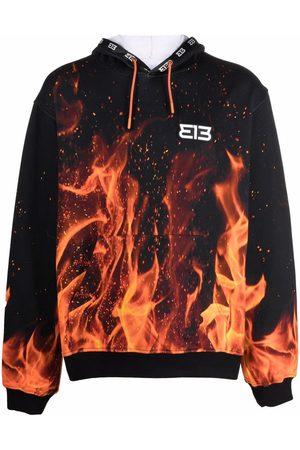 313 WORLDWIDE Flame-print pullover hoodie