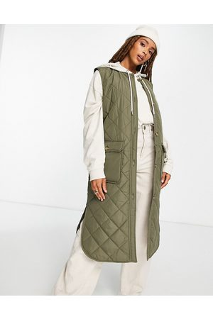 Only Diamond quilted longline vest in khaki