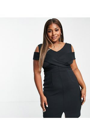 Closet London Plus Cross shoulder cut out pencil dress in