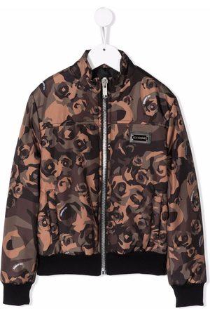 LES HOMMES KIDS Floral print bomber jacket