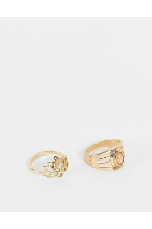 Accessorize Lotus ring set with grey stones in