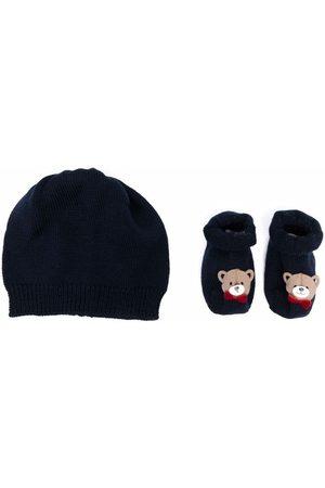 La Perla Baby Beanies - Teddy-Bear beanie and glove set