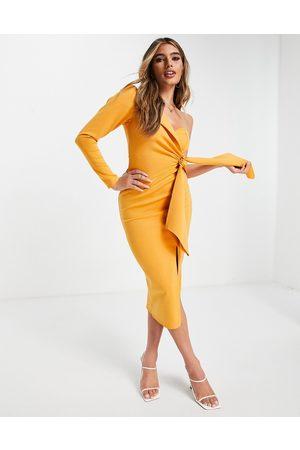 ASOS DESIGN Long sleeve one shoulder tie front midi dress in butterscotch-Multi